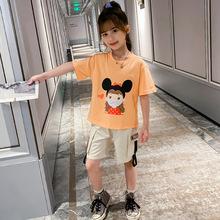 童套裝女童夏季新款韓版卡通印花上衣休閑短褲兩件套兒童口罩套裝