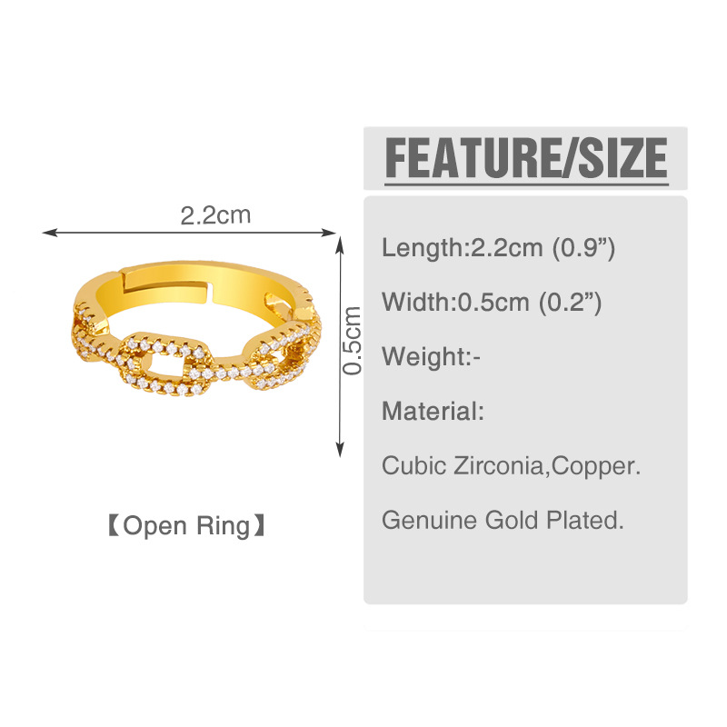 fashion new simple  personality diamond open copper ring nihaojewelry wholesale NHAS222709