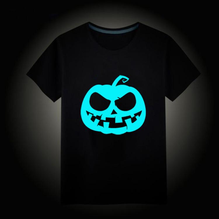 万圣节捣蛋南瓜印花图案短袖 蓝色夜光T恤 跨境新爆款个性上衣女