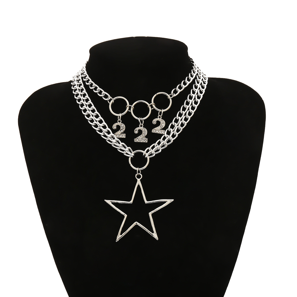 Hip-hop trendy ladies' multi-layered necklace with geometric diamonds NHXR203566