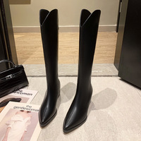 1168-16 European and American sexy pointed boots thick with their female boots web celebrity temperament show thin joker thin boots