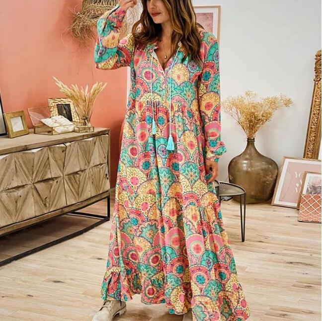 New European and American women's foreign trade dress in summer 2020 Amazon eBay popular V-Neck long sleeve Printed Dress