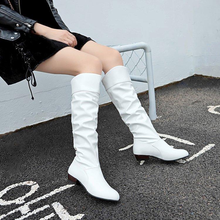 跨境外贸wish爆款大码女鞋新款中跟女士长靴欧美纯色褶皱高筒皮靴