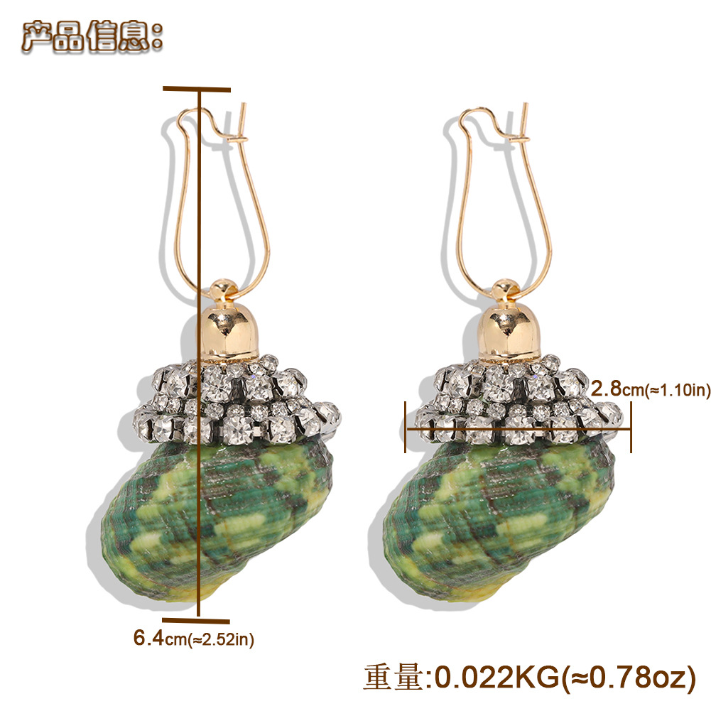 Fashion creative design conch earrings new wave holiday diamond earrings NHJQ199373