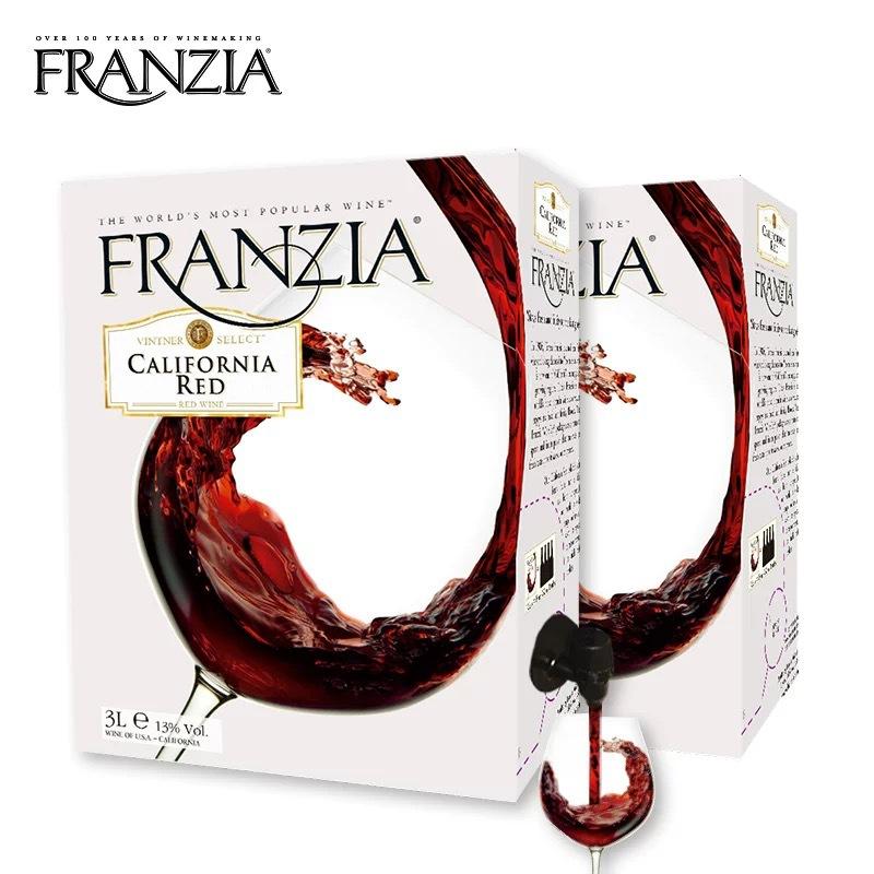 美国进口 风时亚加州3L红6斤袋装单杯盒装干红葡萄酒 现货