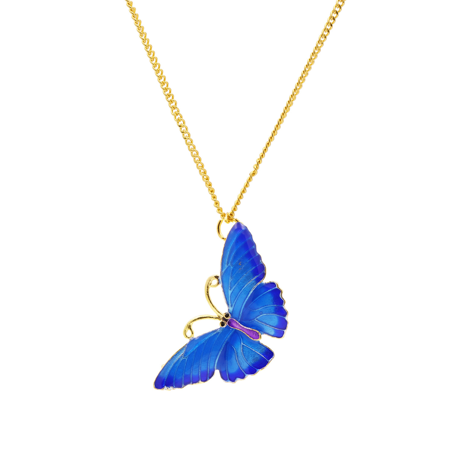 new retro painted blue butterfly necklace alloy fashion long sweater chain wholesale nihaojewelry NHJJ222391