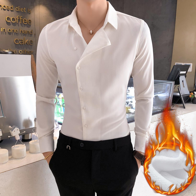 白色衬衫男职业休闲修身长袖衬衣商务黑色寸衫潮个性领子加绒加厚