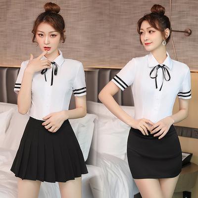 Foot work clothes foot bath shop foot technician set sexy stewardess Shirt Short Sleeve
