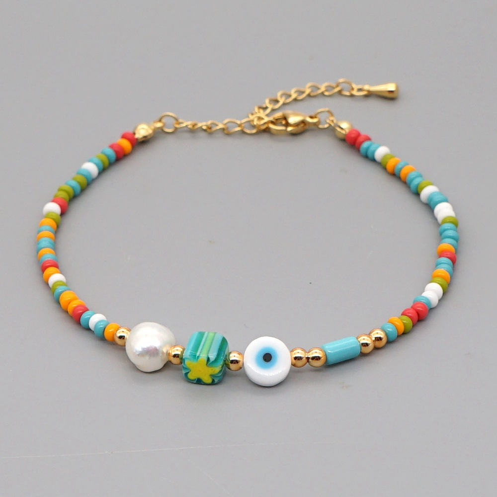 fashion niche eyes rainbow rice beads all-match natural freshwater pearl anklet for women NHGW241870