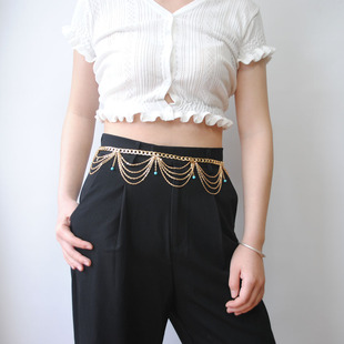 European and American foreign trade jewelry Bohemia clan style retro exaggerated turquoise tassel waist chain body chain wholesale