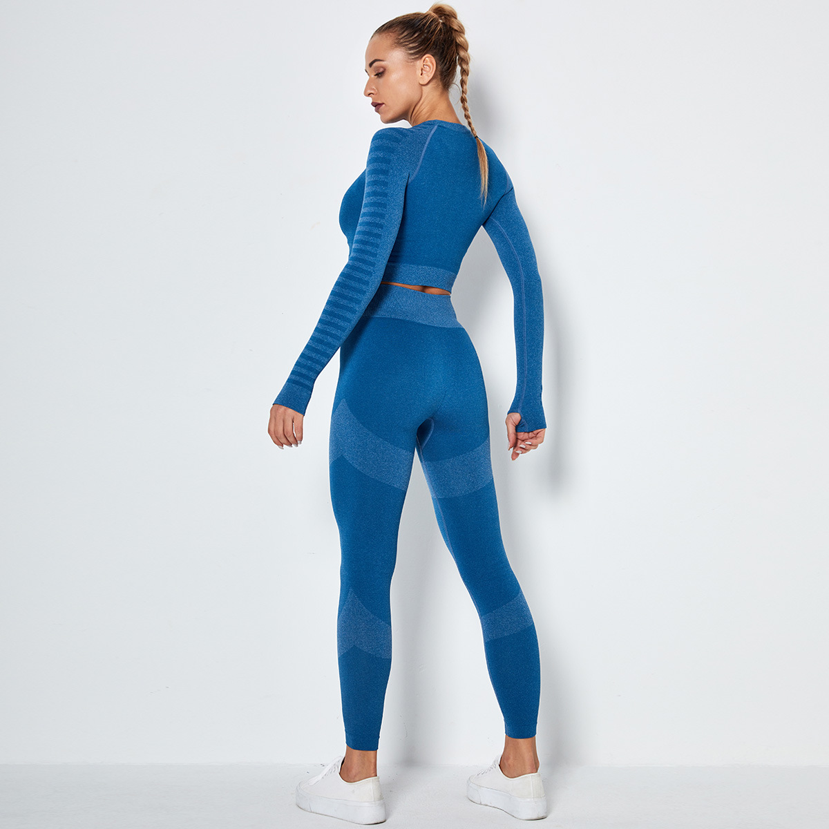 seamless knitted two-piece fitness suit NSLX9008