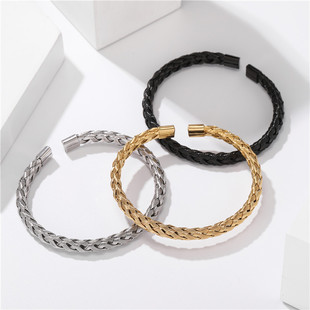 Factory Price Wholesale Trade Titanium Steel Jewelry Twist Braided Steel Wire Open Bracelet Male Simple One Hundred Matching Stainless Steel Jewelry