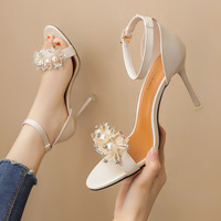 8090-5 in Europe and the sexy peep-toe floral heels diamond one word with sandals with web celebrity fairy wind for women's shoes