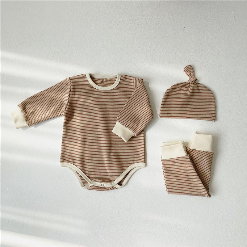 2020 خريف وشتاء جديد طفل من قطعة واحدة رومبير ثلاث قطع بدلة طفل مخطط خدمة منزلية بدلة مبيعات المصنع مباشرة