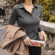 翻领t恤女长袖带领上衣2020秋季新品女装纯棉有领休闲运动polo衫