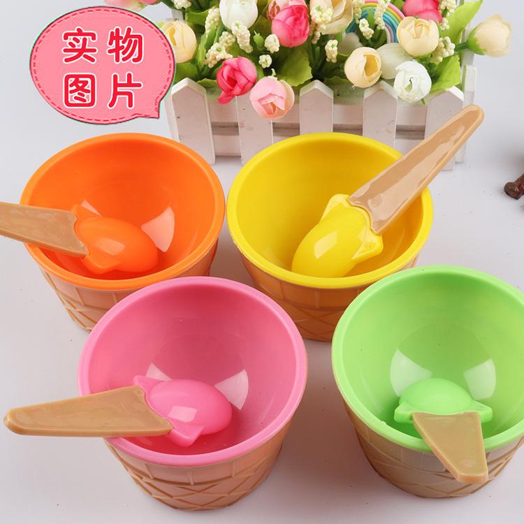 批发冰淇碗糖果色带勺冰激凌碗儿童可爱雪糕碗史莱姆水晶泥搅拌碗