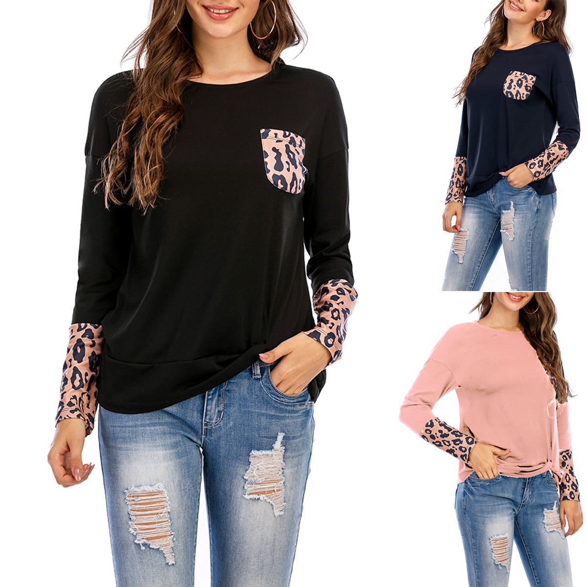 Amazon Europe and America cross border popular new leopard pocket long sleeve solid T-shirt crew neck