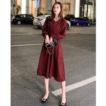 新年淑女配大衣紅色裙子連衣裙女秋冬收腰顯瘦長款氣質女神范衣服