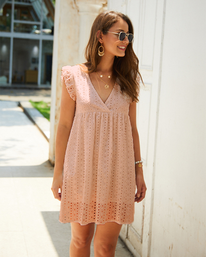 women's summer V-neck short-sleeved lace one-piece skirt wholesale NSKA1335
