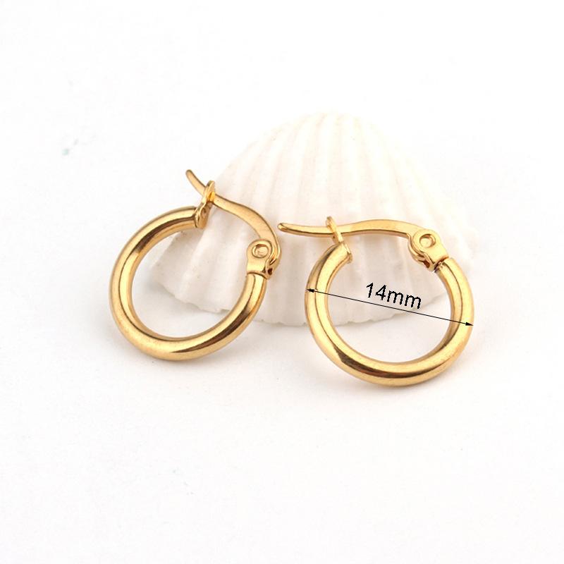 12/14mm stainless steel titanium steel earrings fashion simple gold earrings wholesale nihaojewelry NHGO245897