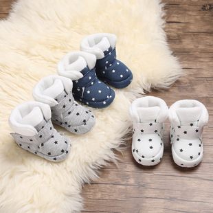 Snow boots baby shoes soft bottom autumn and winter 0-1 year old men and women cotton shoes warm baby shoes plus velvet toddler shoes
