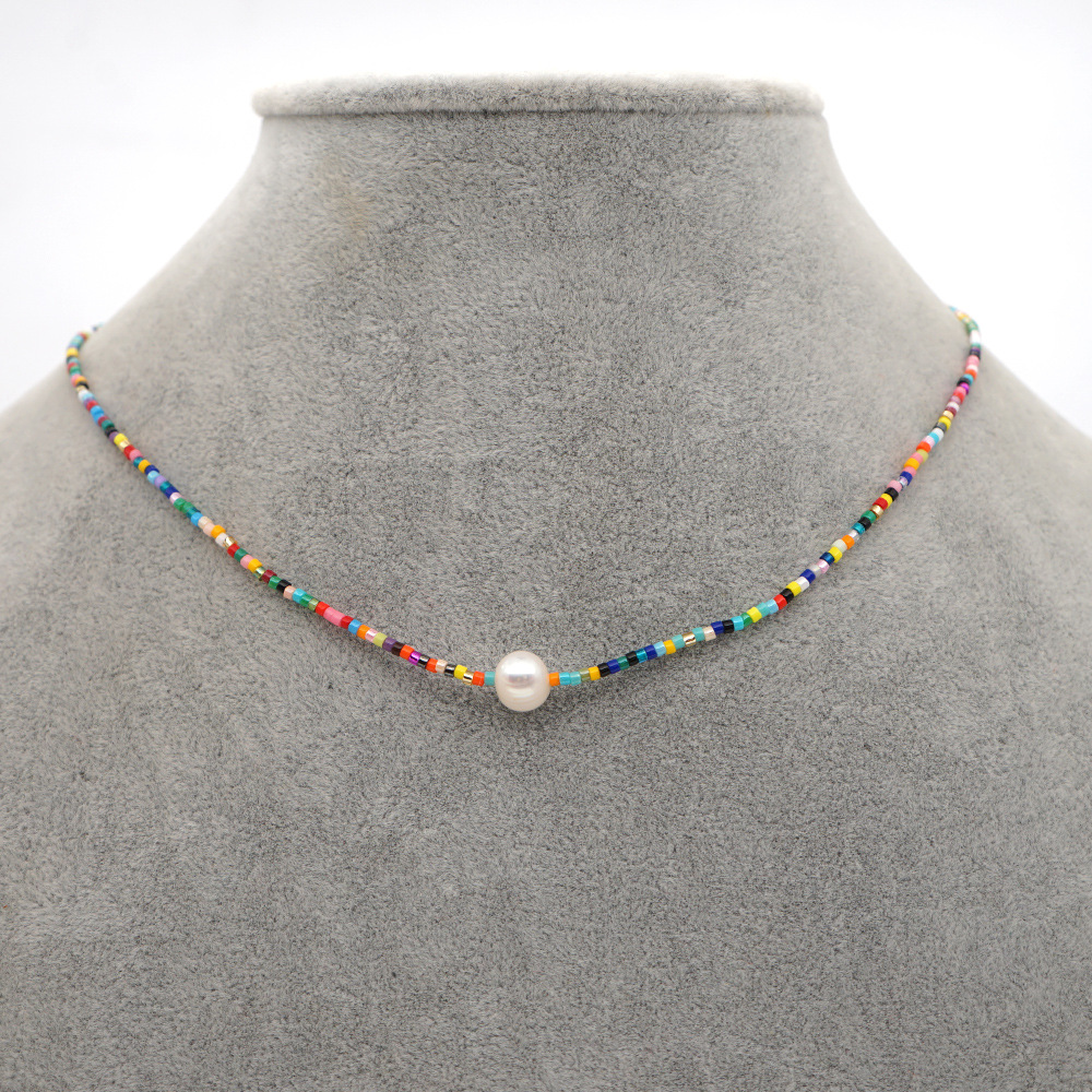 niche baroque style natural freshwater pearl pendant long color rice bead necklace for women NHGW259280