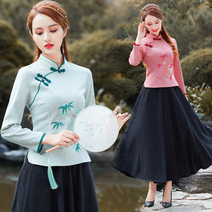 Retro chinese traditional qipao shirts Improved Zen Tea Top Women Stand Collar Embroidered Polyester Cotton Shirt