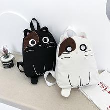 韓版新款網紅貓咪帆布雙肩包二次元萌系少女背包可愛貓咪學生書包