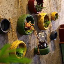 假花酒吧室外墙壁家居喷漆轮胎装饰花盆房间墙面彩色车轮装修布置