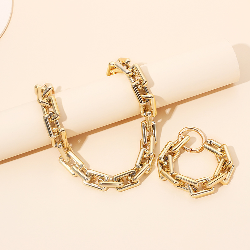 new fashion exaggerated exaggerated clavicle chain necklace bracelet  set NHRN262055