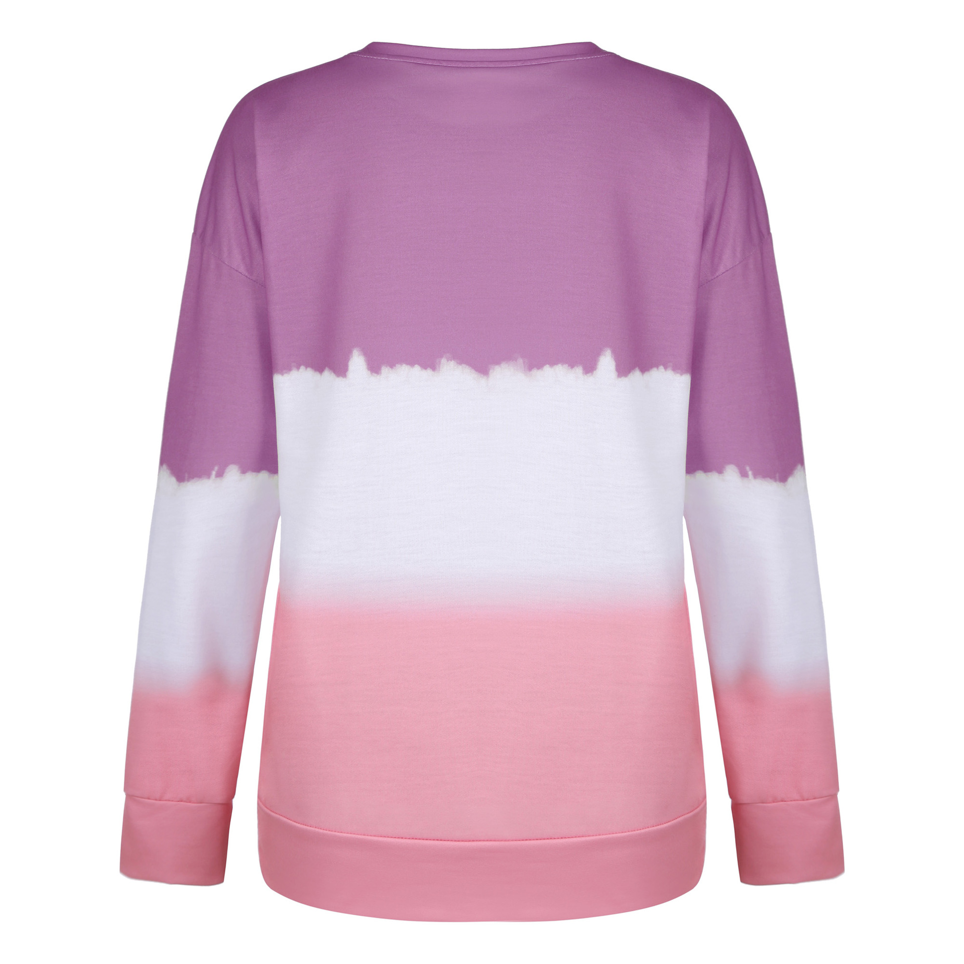 autumn and winter women's printed tie-dye gradient long-sleeved round neck T-shirt sweater NSYD3674