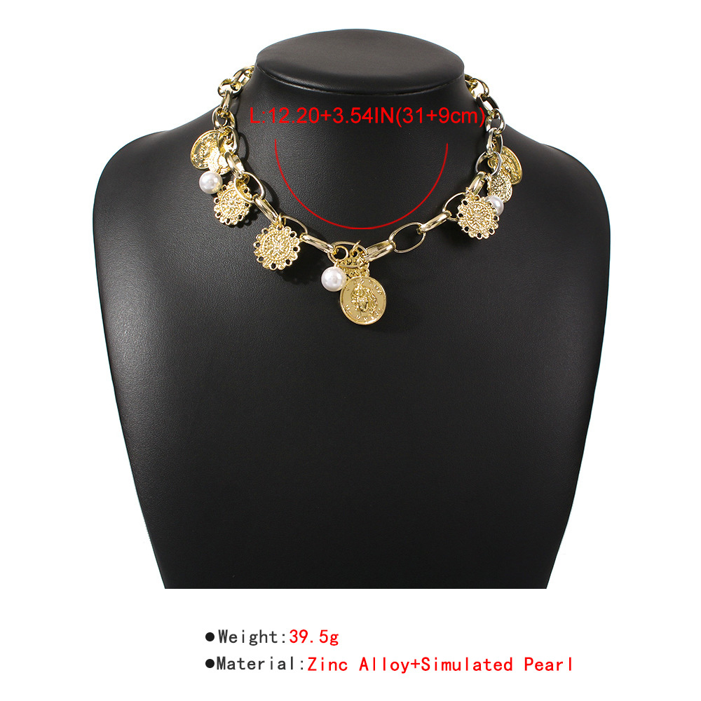 jewelry elegant pearl coin short necklace retro exaggerated necklace hot sale wholesale nihaojewelry NHMD238171