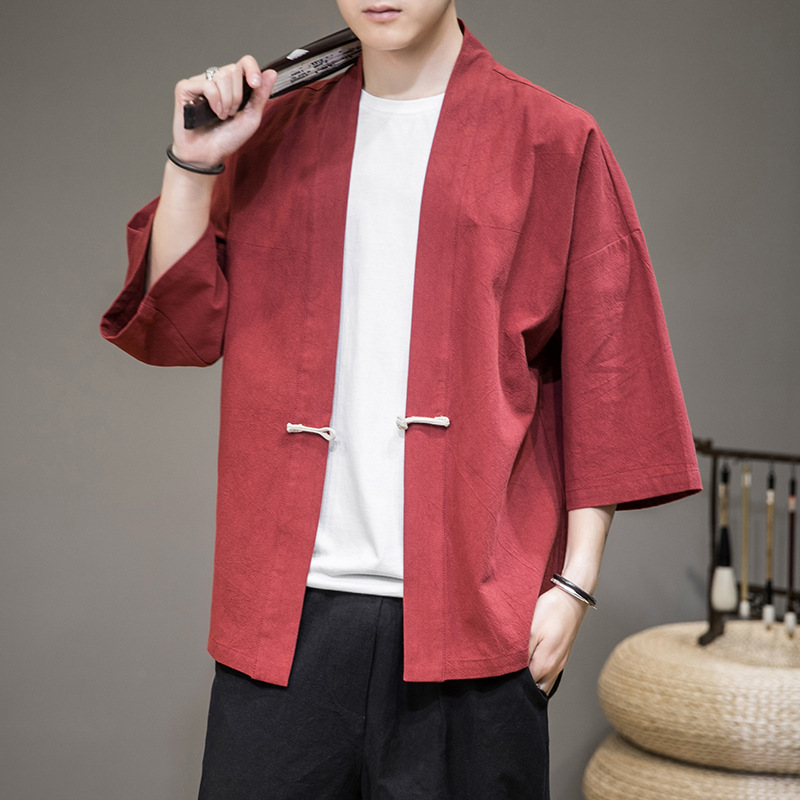 Summer new men's solid color Hanfu national style button loose large size 7 / 3 sleeve cardigan coat men's thin jacket