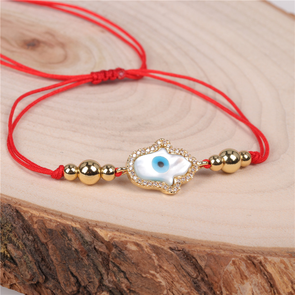 Hot Sale Red Rope Bracelet Fatima Woven Bracelet Cross Border Jewelry Devil Eye Bracelet Wholesale NHPY196196