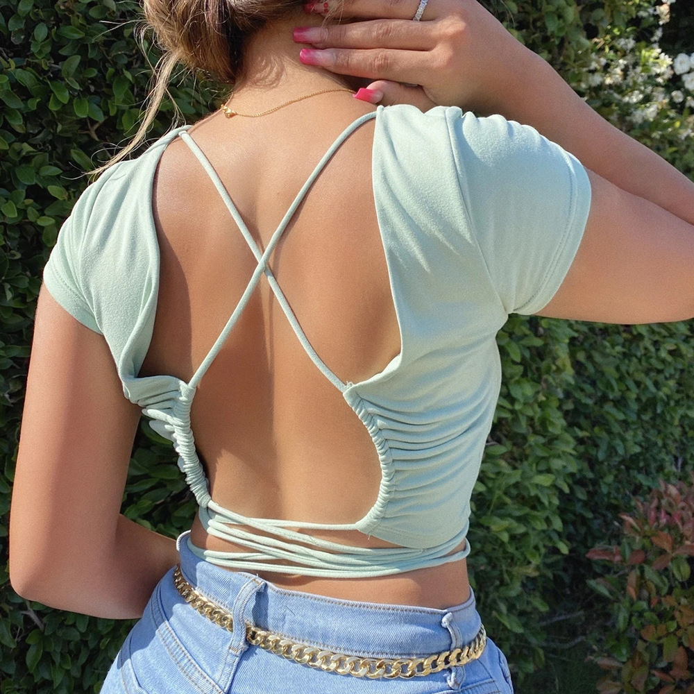 Fashion hot sale sexy womens halter strapless tshirt solid color slim cropped top short sleeve wholesale NHAG241193