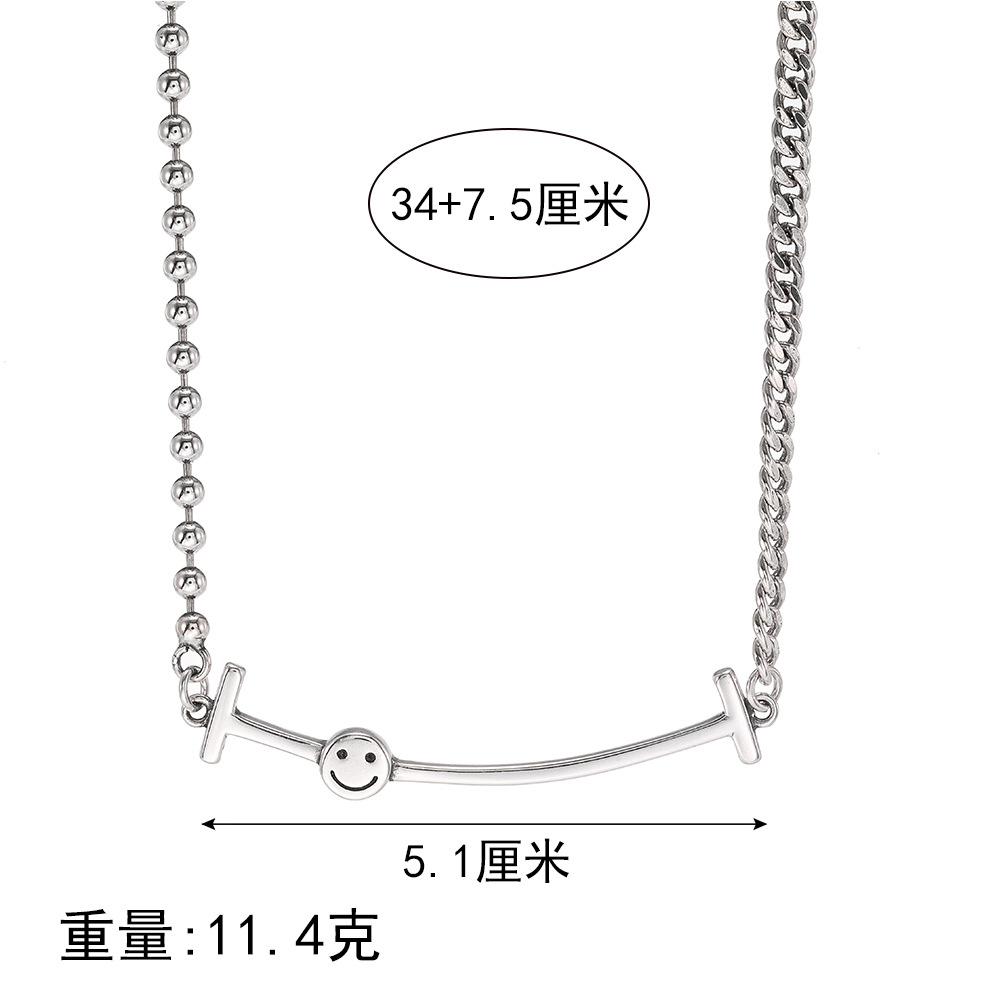 New Fashion 925 Sterling Silver Necklace Female Smiley Necklace Wholesale NHUI206788