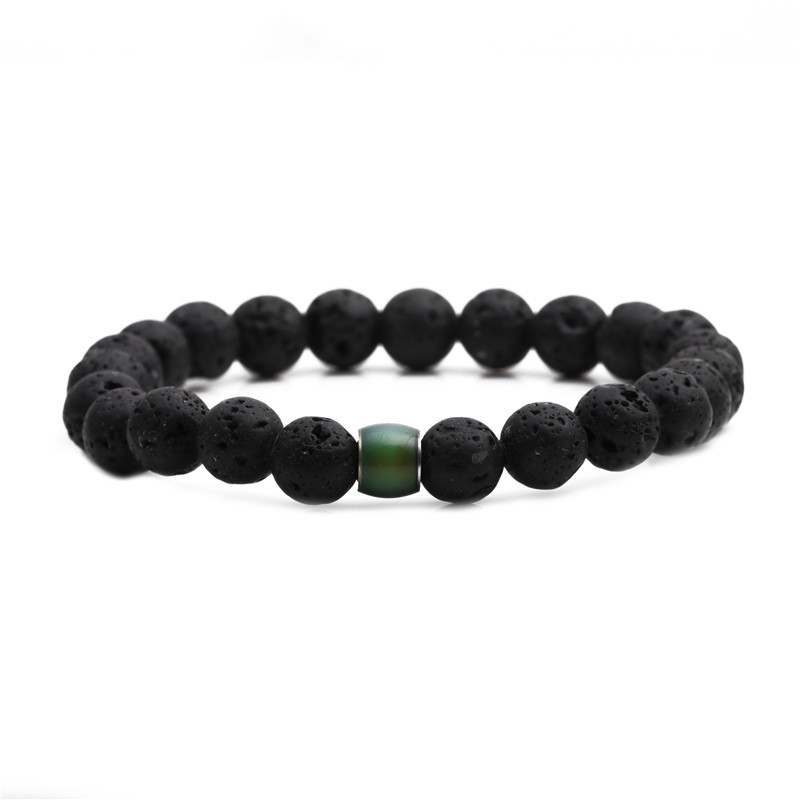 creative 8mm beaded stone temperature change color bracelet NHYL316716