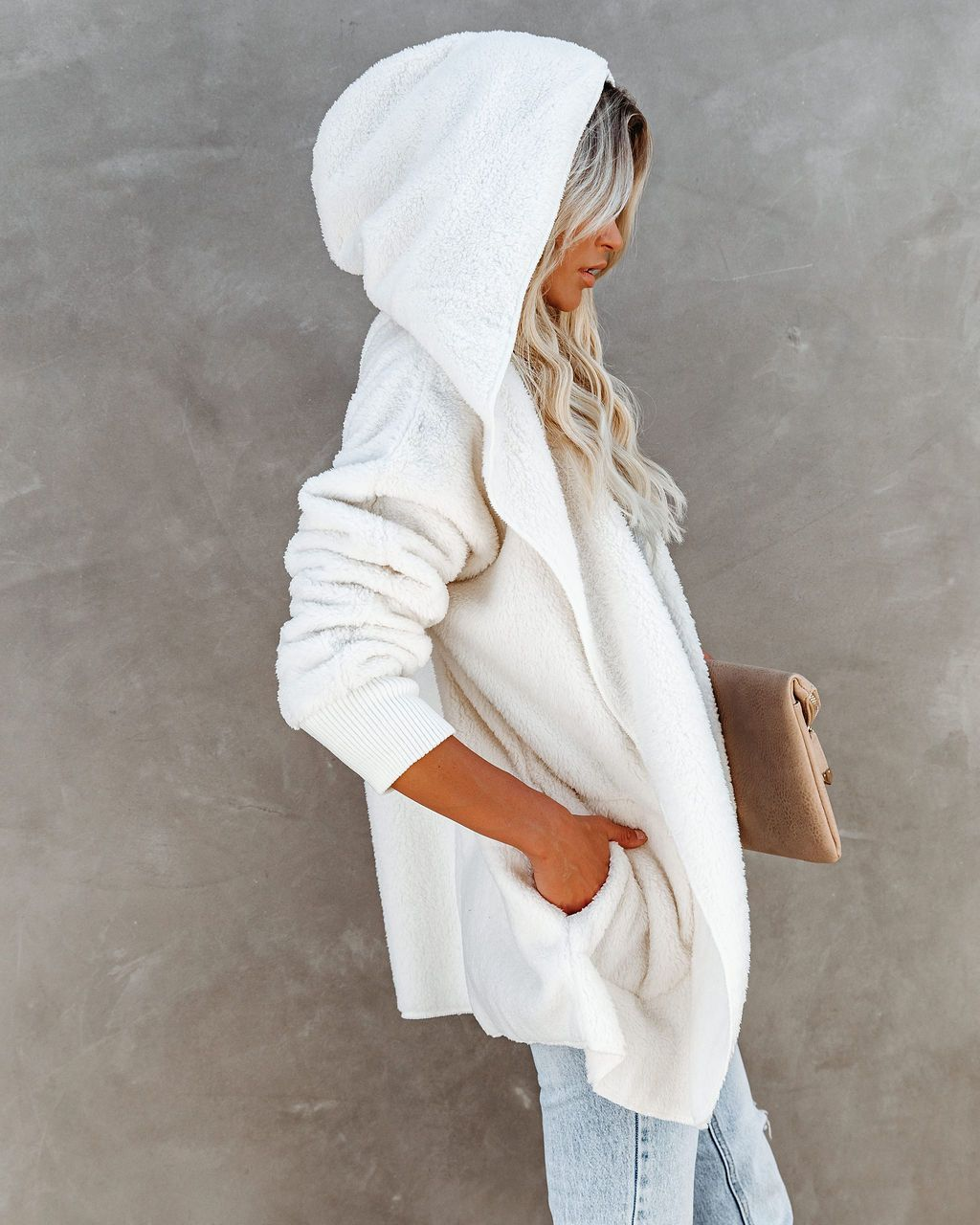 fall and winter hot style comfortable plush jacket casual hooded loose solid color jacket  NSYD3710