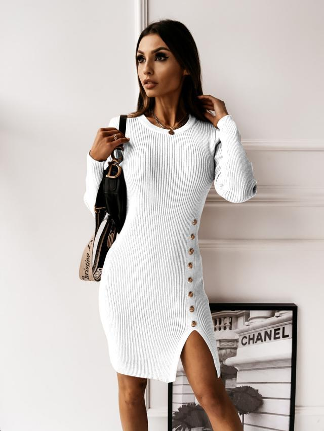round neck button split sexy solid color dress women NSYD3803