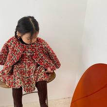 2020冬季韓國女童小香風加厚夾棉套裝  女童亮片呢料連衣裙套裝