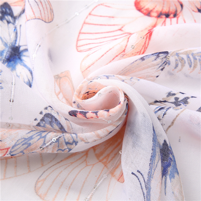 white butterfly print scarf  NHGD304562