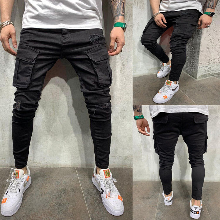 European And American Men's Multi-Pocket Ripped Stretch Jeans Denim Overalls