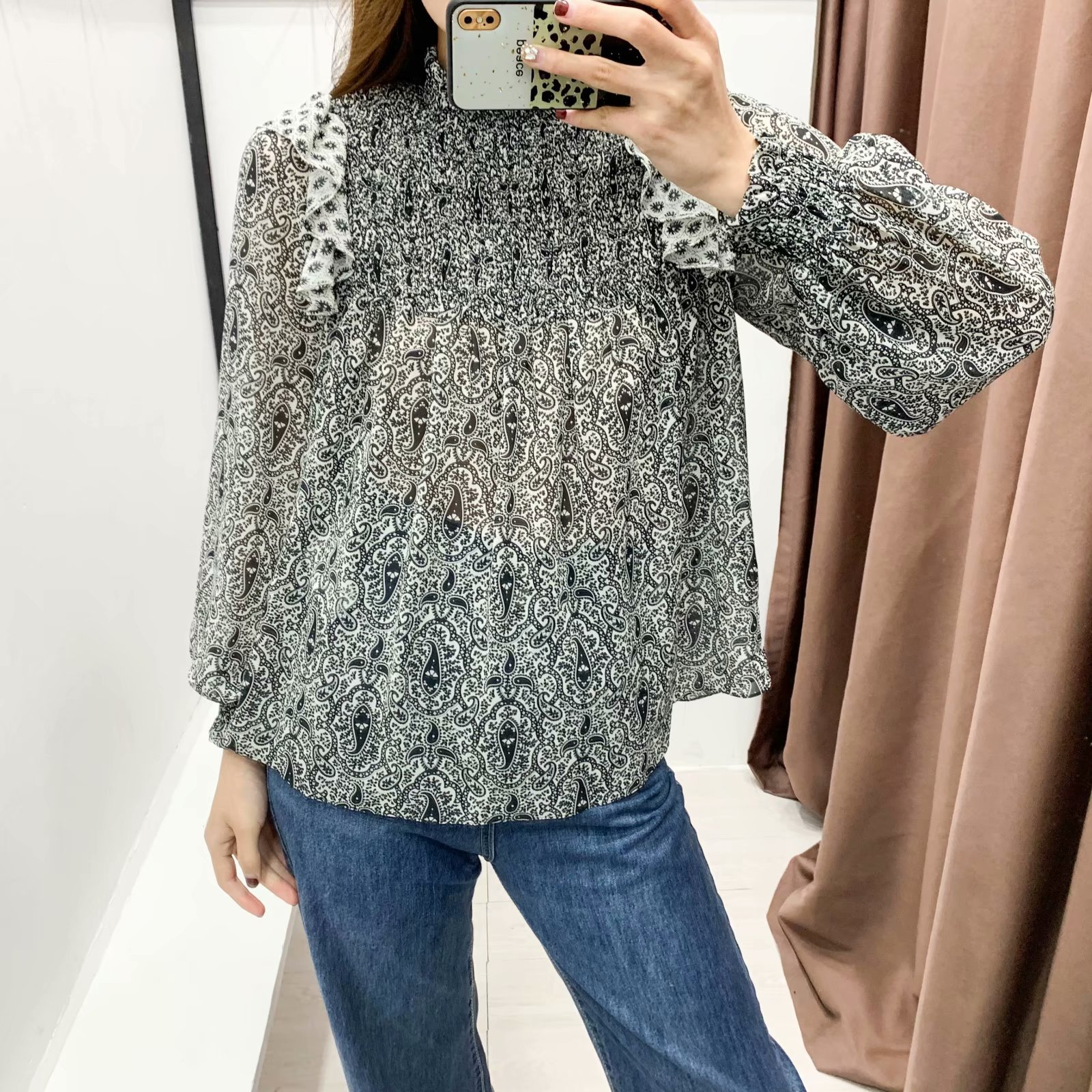 Wholesale new ladies printed shirts NHAM200200