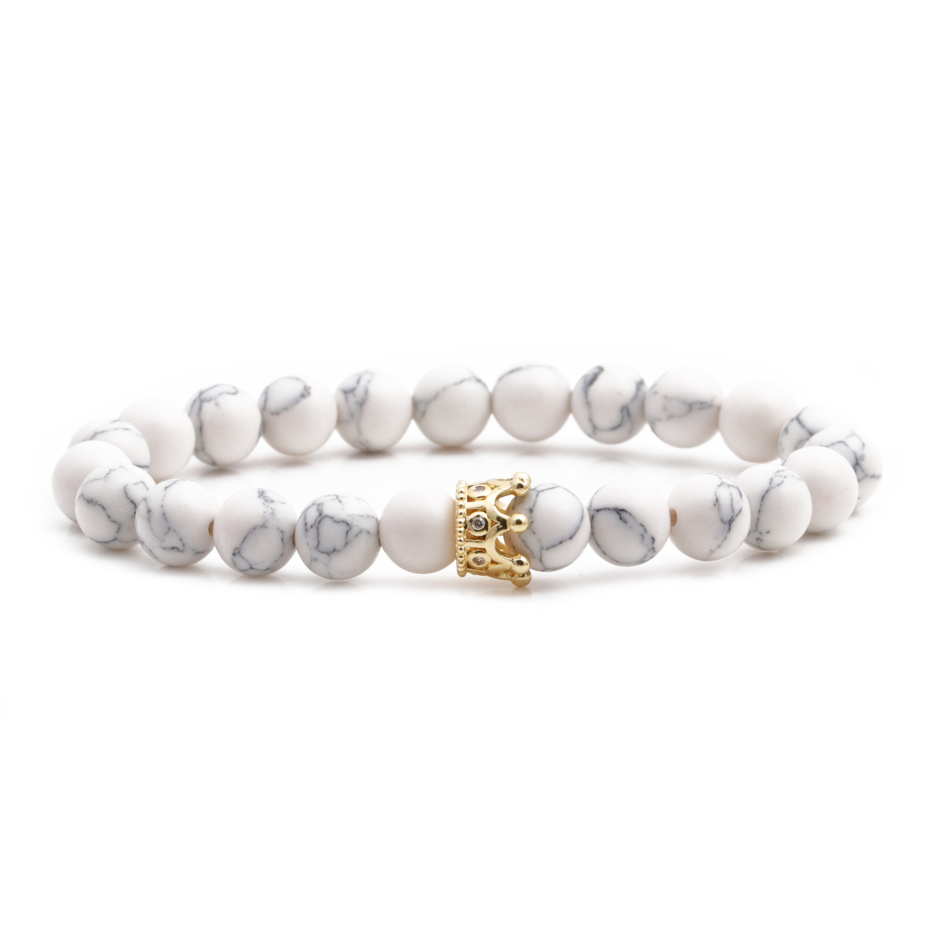 White Song Tiger Eye Powder Crystal Micro-inlaid Zircon Crown Couple Bracelet Copper Bead Beaded Bracelet NHYL264052