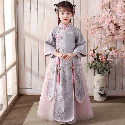 Girl country long sleeve ancient Chinese Hanfu fairy dress children super fairy Tang set little girl ancient dress