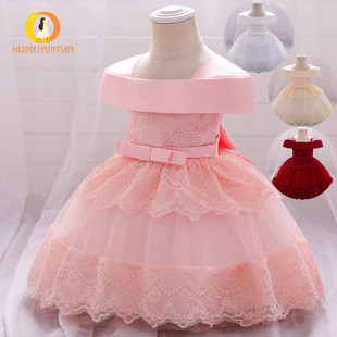 Small and medium girls dress princess dress 2021 Amazon Europe and the United States new one-shoulder flower girl wedding show dress