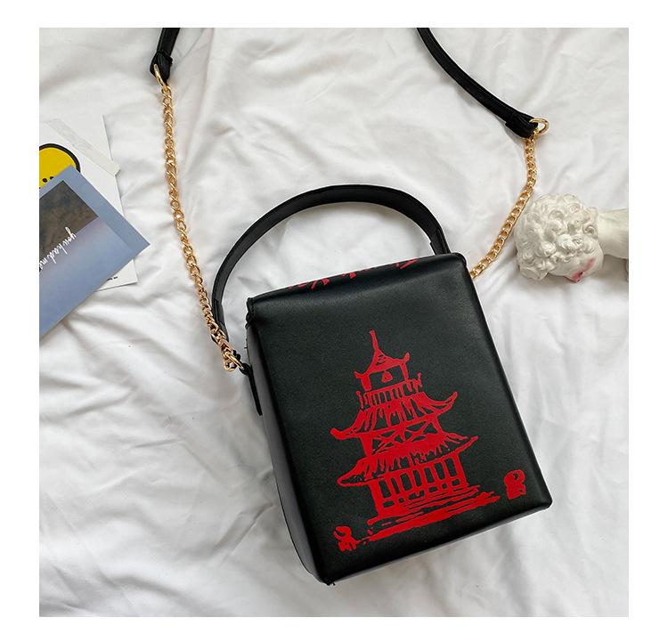 Wholesale PU chain messenger bag red tower printing shoulder bag NHAV390437