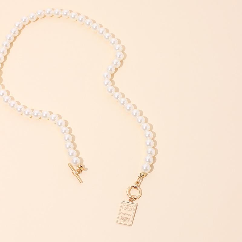 Collar nuevo de perlas con letras inglesas para mujer NHRN262056