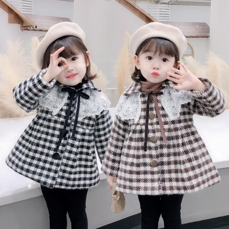 女童小香风格子加厚外套2020秋冬季新款儿童韩版时尚大衣小童冬装