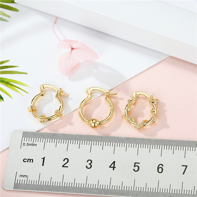 fashion simple new   classical golden ear ring winding rattan beads small earring nihaojewelry wholesale NHGO220989